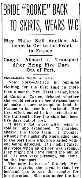 article about Hazel Carter disguising herself as a man to go fight in WWI, Omaha World Herald newspaper article 6 August 1917