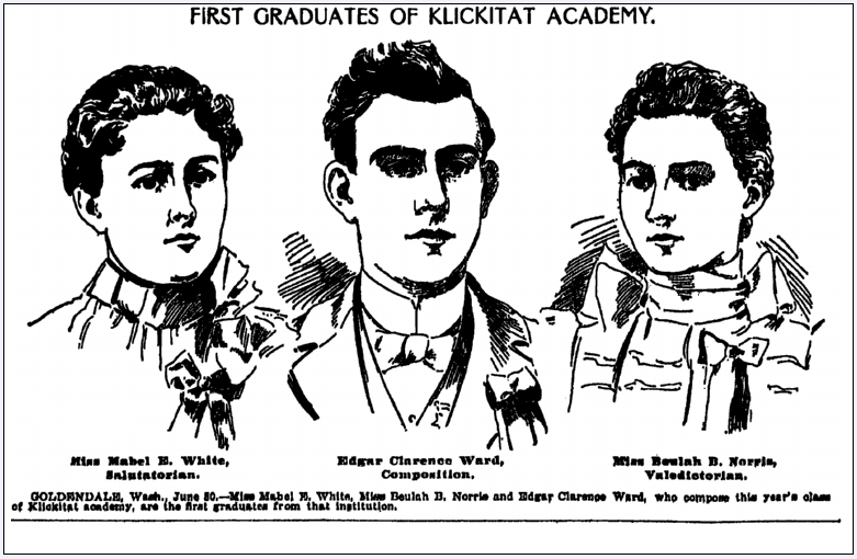 First Graduates of Klickitat Academy, Oregonian newspaper article 1 July 1899