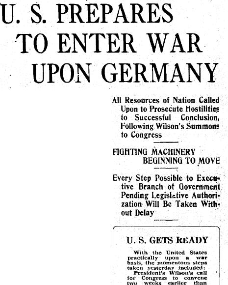 article about the U.S. declaring war on Germany and entering WWI, Patriot newspaper article 22 March 1917