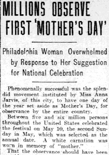 article about Anna Jarvis and the first celebration of Mother's Day in the U.S., Philadelphia Inquirer newspaper article 20 May 1908