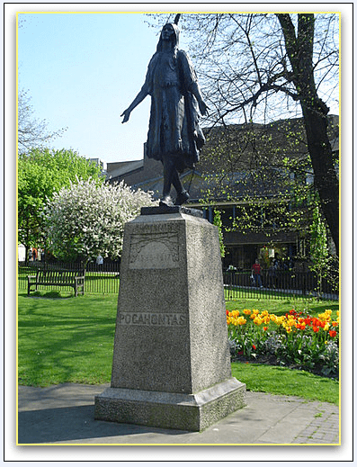 photo of a statue of Pocahontas in Saint George's Church, Gravesend, Kent, England