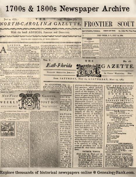 montage of front pages from historical newspapers recently added to GenealogyBank