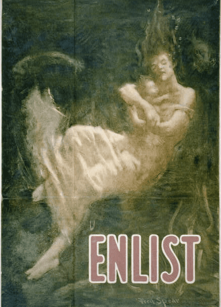 photo of a U.S. WWI enlistment poster spurred by Germany's sinking of the Lusitania