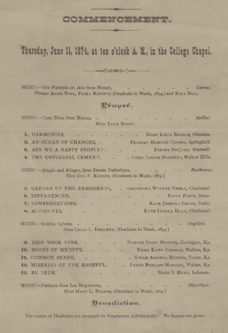 photo of the 1874 commencement program for Wesleyan Female College in Cincinnati