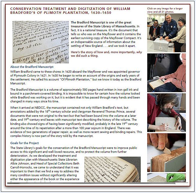 screenshot of a page from the Northeast Document Conservation Center website describing the restoration of the Bradford Manuscript