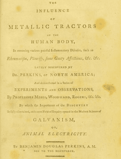 "title page of the book written by Benjamin Perkins about the medical device ""metallic tractors"""