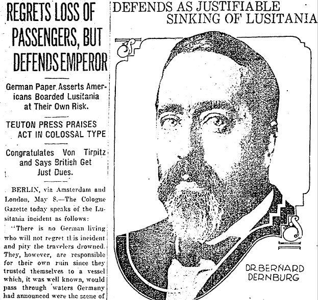 article about Germany sinking the Lusitania, Plain Dealer newspaper article 9 May 1915
