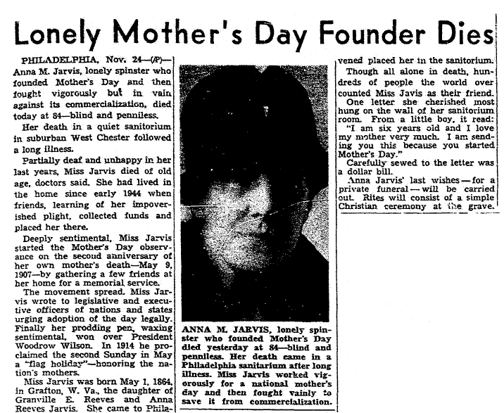obituary for Anna Jarvis, Plain Dealer newspaper article 25 November 1948