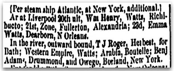 "shipping news about the ship ""Benjamin Adams,"" Portland Weekly Advertiser newspaper article 13 September 1853"