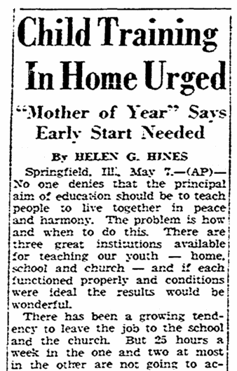 parenting advice from 1948 American Mother of the Year Helen Gartside Hines, Register-Republic newspaper article 7 May 1948