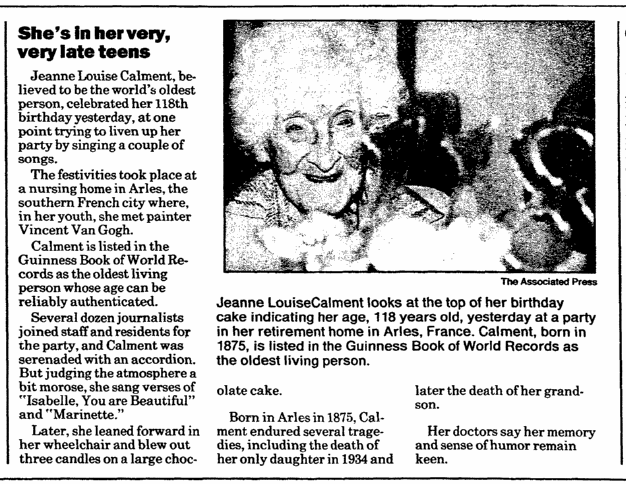 article about Jeanne Calment celebrating her 118th birthday, Register Star newspaper article 22 February 1993