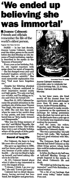 obituary for Jeanne Calment, Register Star newspaper article 5 August 1997
