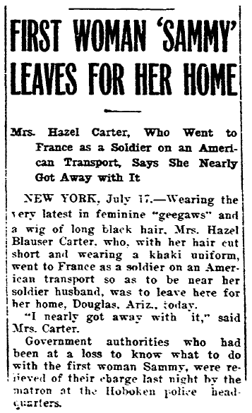 article about Hazel Carter disguising herself as a man to go fight in WWI, Riverside Daily Press newspaper article 17 July 1917