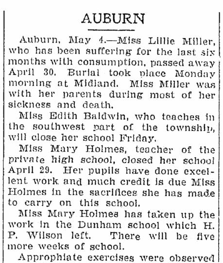 social column, Saginaw News newspaper article 4 May 1904