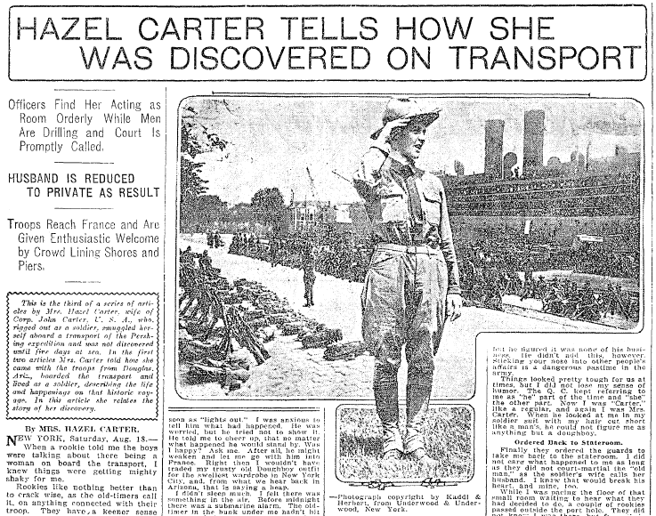 article about Hazel Carter disguising herself as a man to go fight in WWI, Seattle Daily Times newspaper article 19 August 1917