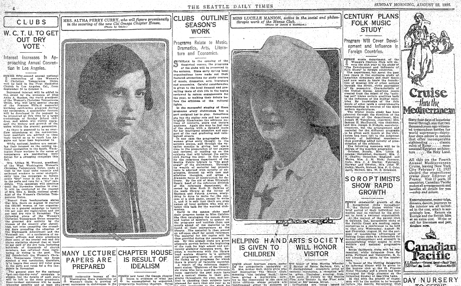 women's club page, Seattle Daily Times newspaper article 22 August 1926