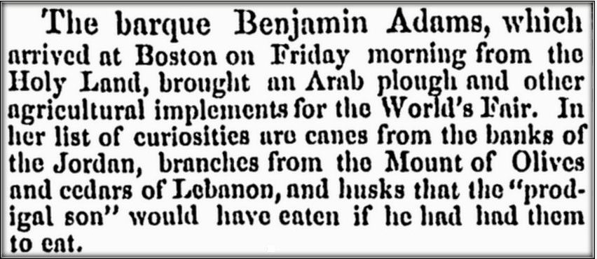 "shipping news about the ship ""Benjamin Adams,"" Springfield Republican newspaper article 25 October 1853"