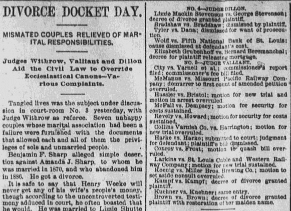 divorce notices, St. Louis Republic newspaper article 25 June 1889