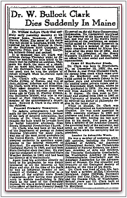 obituary for William Clark, Sun newspaper article 28 July 1917