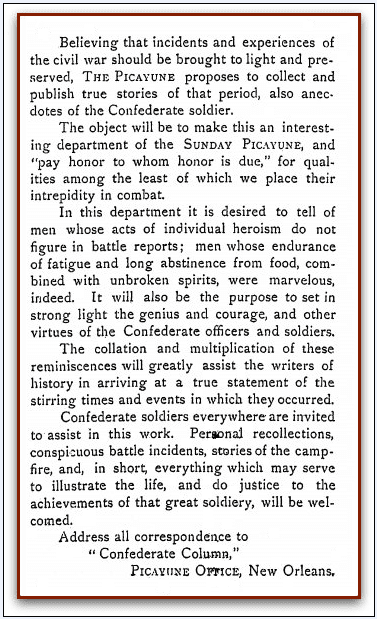"ad seeking readers' stories for the ""Confederate Column,"" Times-Picayune newspaper advertisement 28 February 1902"
