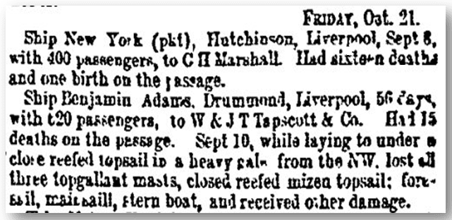 "shipping news about the ship ""Benjamin Adams,"" Weekly Herald newspaper article 22 October 1853"
