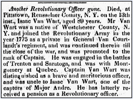 obituary for Isaac Van Wart, Barre Gazette newspaper article 31 July 1840