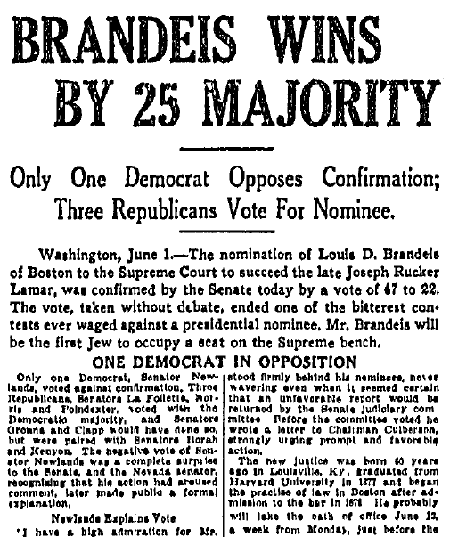 article about the confirmation of Supreme Court Justice Louis Brandeis, Boston Journal newspaper article 2 June 1916