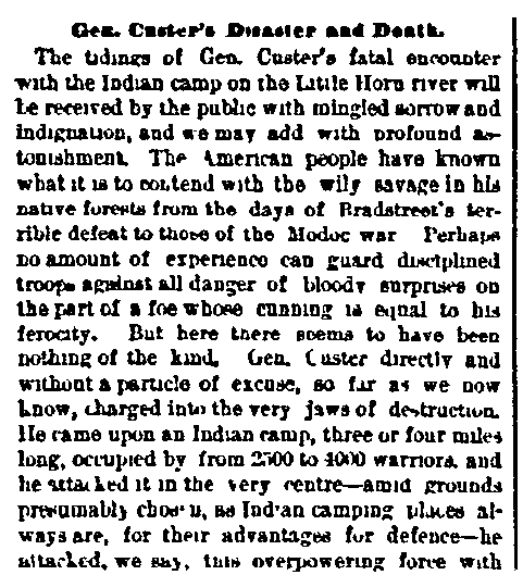 Gen. Custer's Disaster and Death, Boston Journal newspaper article 6 July 1876