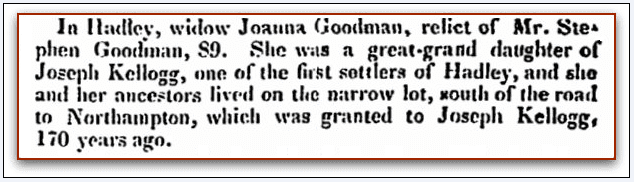 obituary for Joanna (Kellogg) Goodman, Boston Recorder newspaper article 7 September 1831