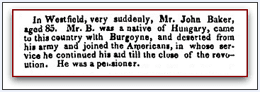 obituary for John Baker, Boston Traveler newspaper article 3 May 1826
