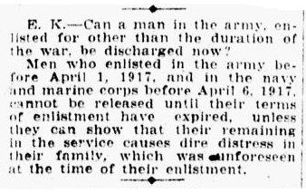 a question and answer column by Frederic J. Haskin, Charlotte Observer newspaper article 1 May 1919