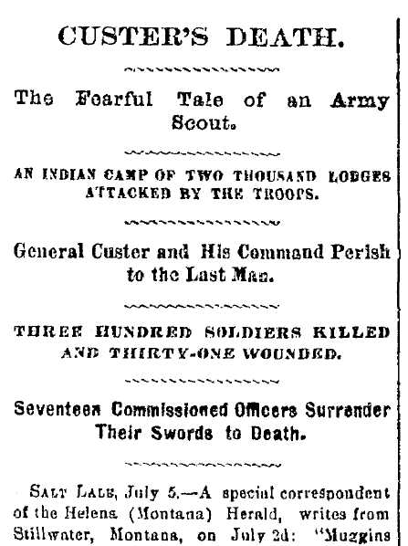 Custer's Death, Cincinnati Daily Gazette newspaper article 6 July 1876