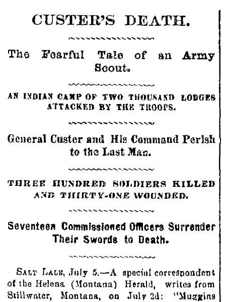 Custer's Death, Cincinnati Daily Gazette newspaper article 6 July 1876