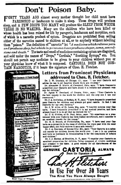 ad for castoria (castor oil), Colorado Springs Gazette newspaper advertisement 7 July 1915