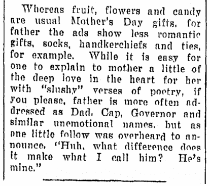 article about gifts for Father's Day, Daily Herald newspaper article 11 June 1930
