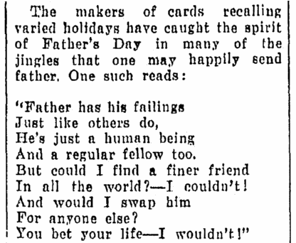 poem for Father's Day, Daily Herald newspaper article 11 June 1930