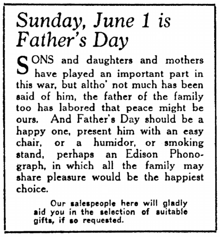 Sunday, June 1 Is Father's Day, Daily Illinois State Journal newspaper advertisement 29 May 1919