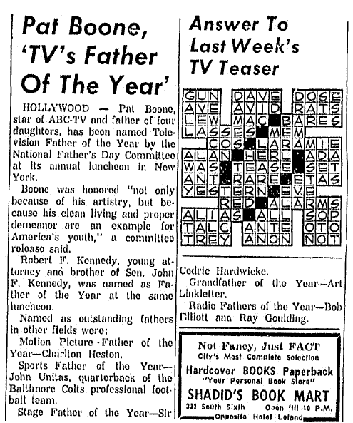 Pat Boone, 'TV's Father of the Year,' Daily Illinois State Journal newspaper article 11 June 1960