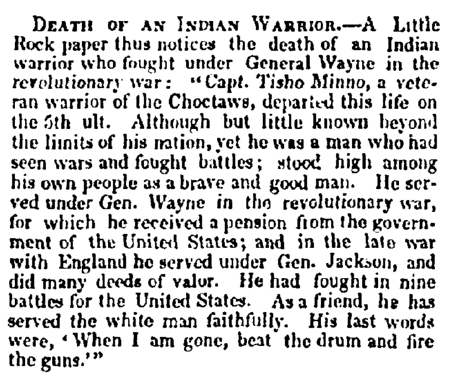 obituary for Chief Tishomingo, Evening Post newspaper article 24 June 1841