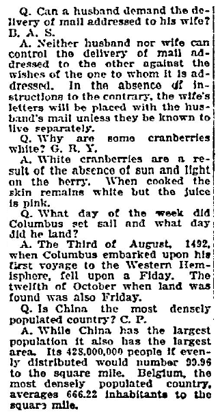 a question and answer column by Frederic J. Haskin, Fort Worth Star-Telegram newspaper article 6 November 1922