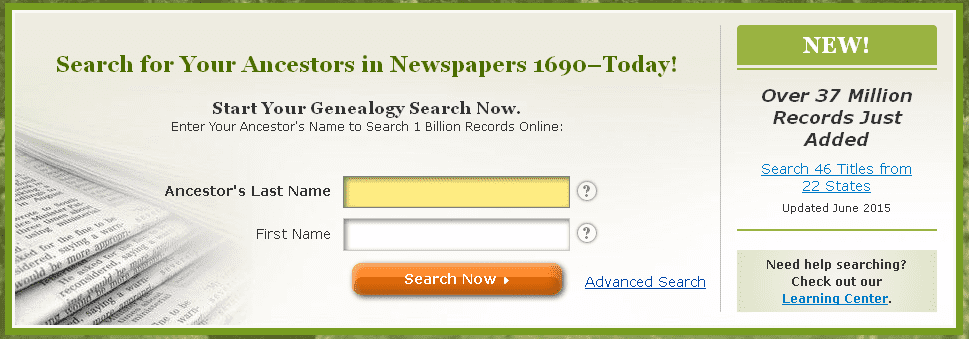 screenshot of GenealogyBank's home page showing the announcement of 37 million records recently added to GenealogyBank's archives
