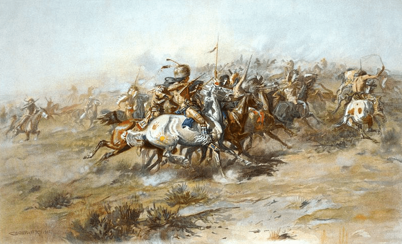 "Painting: ""The Custer Fight"" by Charles Marion Russell"