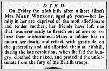obituary for Mary Wyckoff, Minerva newspaper article 29 May 1797