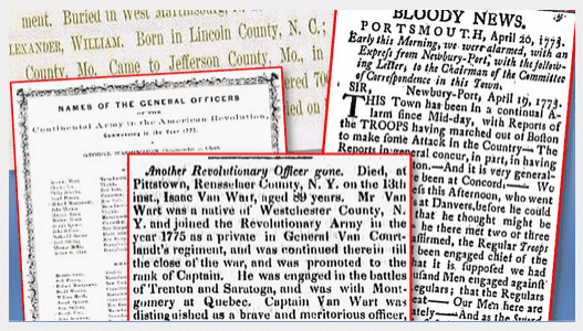 montage of Revolutionary War records from old newspaper articles