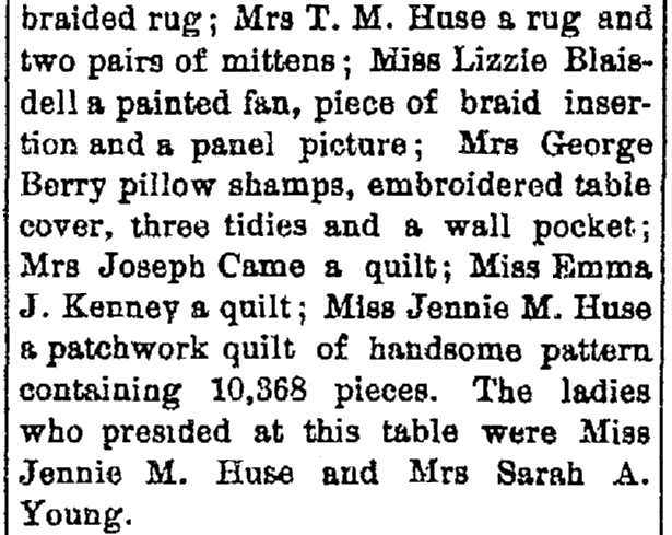 article about Jennie Huse and her quilt, New Hampshire Patriot and State Gazette newspaper article 29 September 1881
