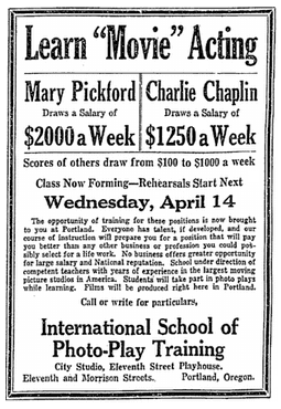 ad for the International School of Photo-Play Training, Oregonian newspaper advertisement 9 April 1915