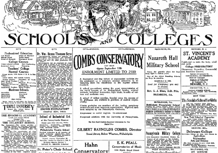 ads for schools and colleges, Philadelphia Inquirer newspaper advertisements 11 September 1915