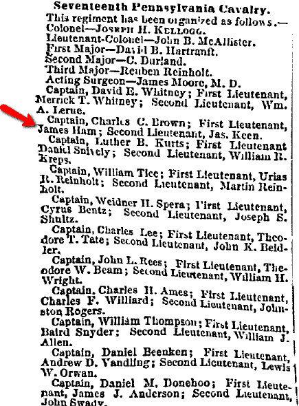 Civil War roster list for Seventeenth Pennsylvania Cavalry, Philadelphia Inquirer newspaper article 21 November 1862