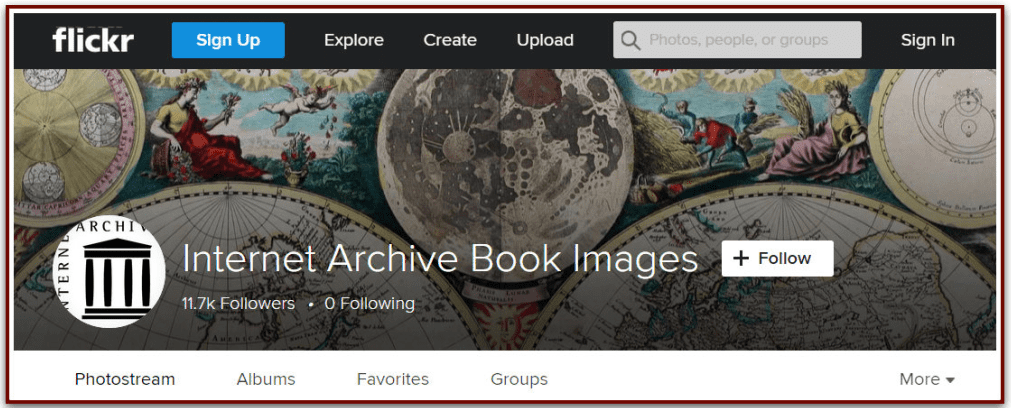 screenshot of the website Internet Archive Book Images