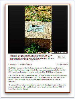 screenshot from an article on the South Illinoisan website about the Herrin City Cemetery in Herrin, Illinois